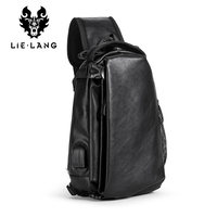 LIELANG Leather Chest Bag Man USB Charge Black Crossbody Bags Messengers Short Trip Chest Pack Waterproof Sing Shoulder Bags