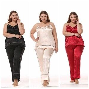 Image 5 - JULYS SONG Women Sleepwear Pajama Set Big Size Sleeveless Pyjamas Faux Silk Nightwear Sling And Pants Sleepwear Stain Homewear