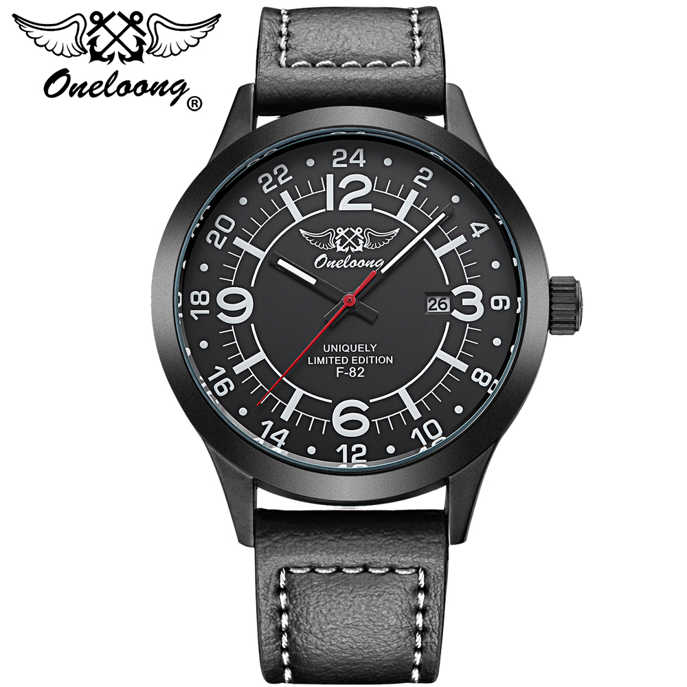 Oneloong Luxury Brand Relogio Masculino Date Leather Casual Watch Men Sports Watches Quartz Military Wrist Watch Male Clock watches men luxury brand men quartz ultra thin date clock male waterproof steel strap gold casual wrist watch relogio masculino