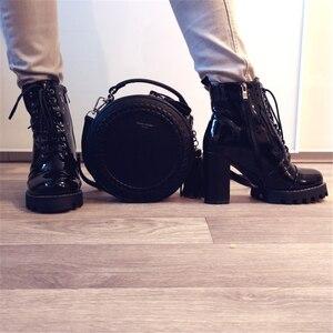 Image 4 - FEDONAS Nuovo Della Mucca di Modo della Pelle Verniciata Delle Donne Della Caviglia Stivali Delle Donne di Autunno di Inverno Del Cuoio Genuino Piattaforme di Scarpe da Donna Delle Signore Stivali