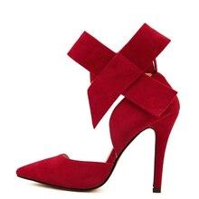AIYKAZYSDL Plus Size 41 Women Big Bowtie Bow Pumps High Heel Woman Sandals Stiletto Wedding Party Dress Shoes Bowknot Detachable