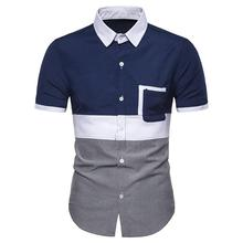 Short sleeve Social Shirt Male New Summer Blouse Men White Navy Fashion Casual Shirt for Men Oxford Colorblock