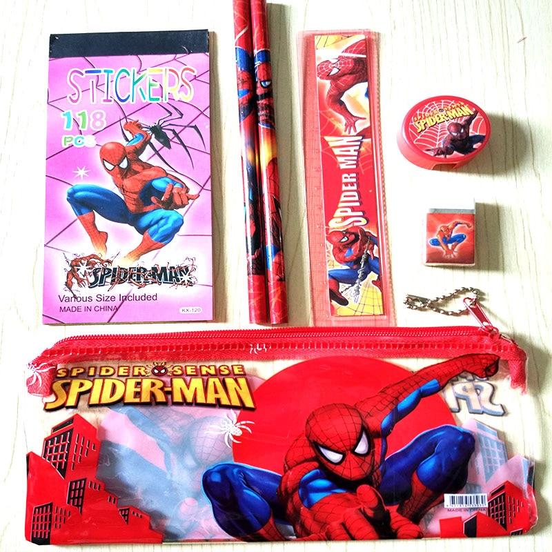 Cartoon <font><b>Spiderman</b></font> stationry <font><b>set</b></font> for kids Kawaii pencil case erasers ruler <font><b>pen</b></font> Pouch Office School Supplies escolar canetas