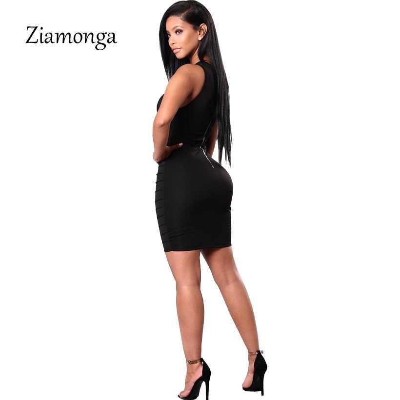 Ziamongaเล็บลูกปัดกลวงS Tuddedเซ็กซี่ชุดผ้าพันแผล2018ใหม่แขนยาวเข่าผ้าพันแผลแต่งกายชุดบุคคลดำ