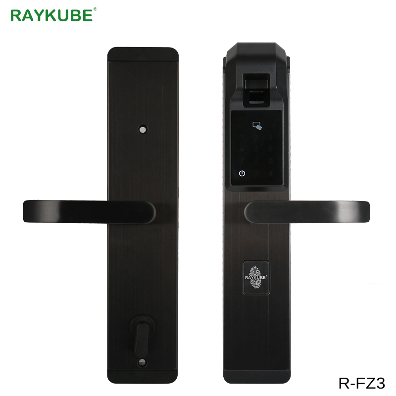 RAYKUBE Digit Fingerprint Door Lock Keyless Entry Smart Anti theft Lock For Home Security With RFID
