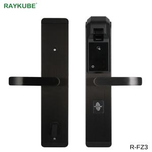 Image 1 - RAYKUBE ספרות טביעות אצבע דלת נעילת Keyless כניסה חכם נגד גניבה מנעול אבטחת בית עם RFID קורא R FZ3
