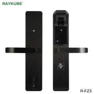 Image 1 - RAYKUBE 자리 지문 도어 잠금 장치가없는 항목 RFID 리더와 홈 보안을위한 스마트 도난 방지 잠금 장치 R FZ3