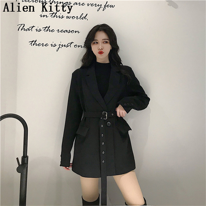 Alien Kitty Single Button Casual Sashes Belt 2019 Hot Solid Vintage Notched Female Office Lady Long Sleeve Free Black Blazers