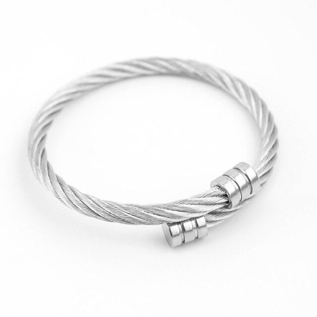 37f921c159d2 Simsimi Cable Giro brazalete de cuerda de alambre de acero hombre mujer  Pulsera Pulseiras Brazalete brazalete