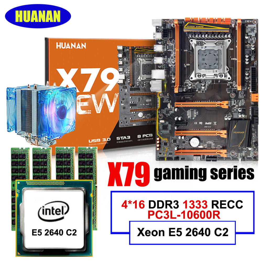Gaming PC assembly HUANAN deluxe X79 LGA2011 motherboard CPU RAM combos with cooler Xeon E5 2640 64G(4*16G) DDR3 1333MHz RECC цена 2017