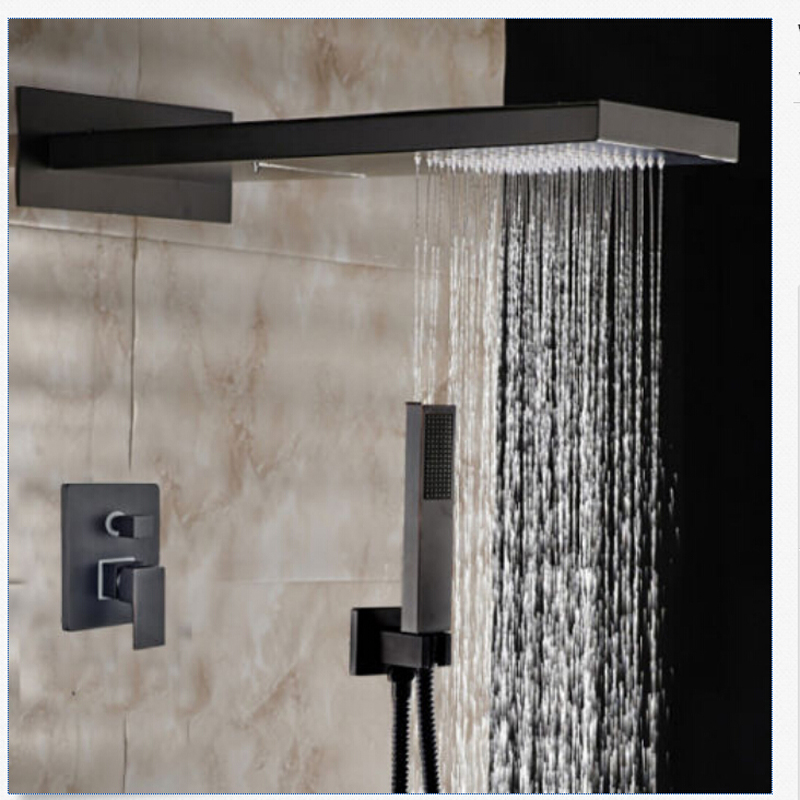 Wholesale And Retail Oil Rubbed Bronze 55*23cm Waterfall Rain Shower Head Faucet Valve Mixer Tap W/ Hand Shower 3 Ways Valve