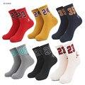 Homens & mulheres number 23 09 24 21 35 meias de algodão dos desenhos animados em meias tubo meias sox masculino elite tripulação meia