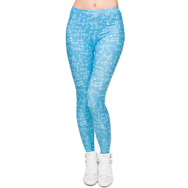 Hot Sale 3D Print Blue Math Women Leggings Work Out Knitted Jeggings ...