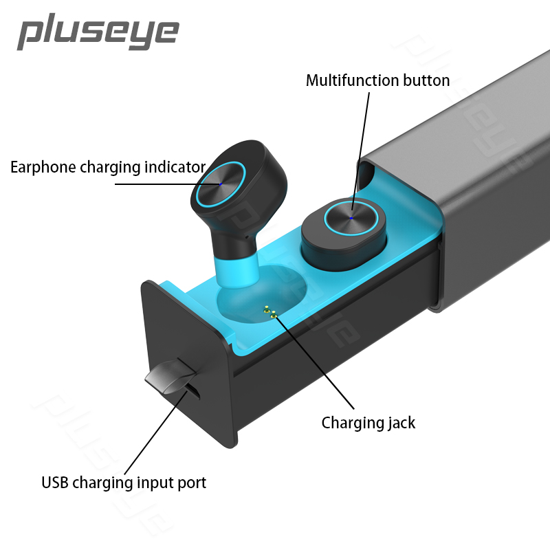 Pluseye drawer Type Metal Charger Box TWS Wireless Headset  Bluetooth 4.2 Mini Earphones Earbuds Stereo HD MIC for iPhone Xiaomi new dacom carkit mini bluetooth headset wireless earphone mic with usb car charger for iphone airpods android huawei smartphone