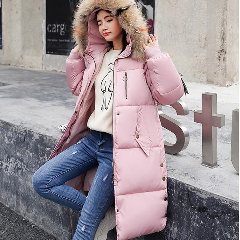 Capuche Décontracté Étudiant Parkas Coton Lâche Mode gray pink Couleur W44 2018 Longue À Et Veste En Beige Chaud Hiver Corée black Épais Uni Femme red UzxatU4q