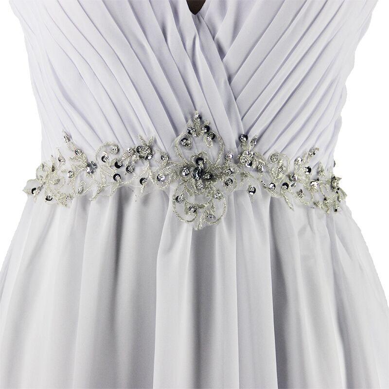 A-line V-neck Chiffon Beaded Vintage Wedding Dress 1