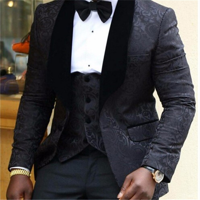 Latest Coat Pant Deisigns Men Suits Groomsmen White Shawl Lapel Groom Tuxedos Black Dots Men Wedding Suits Best Man Blazer