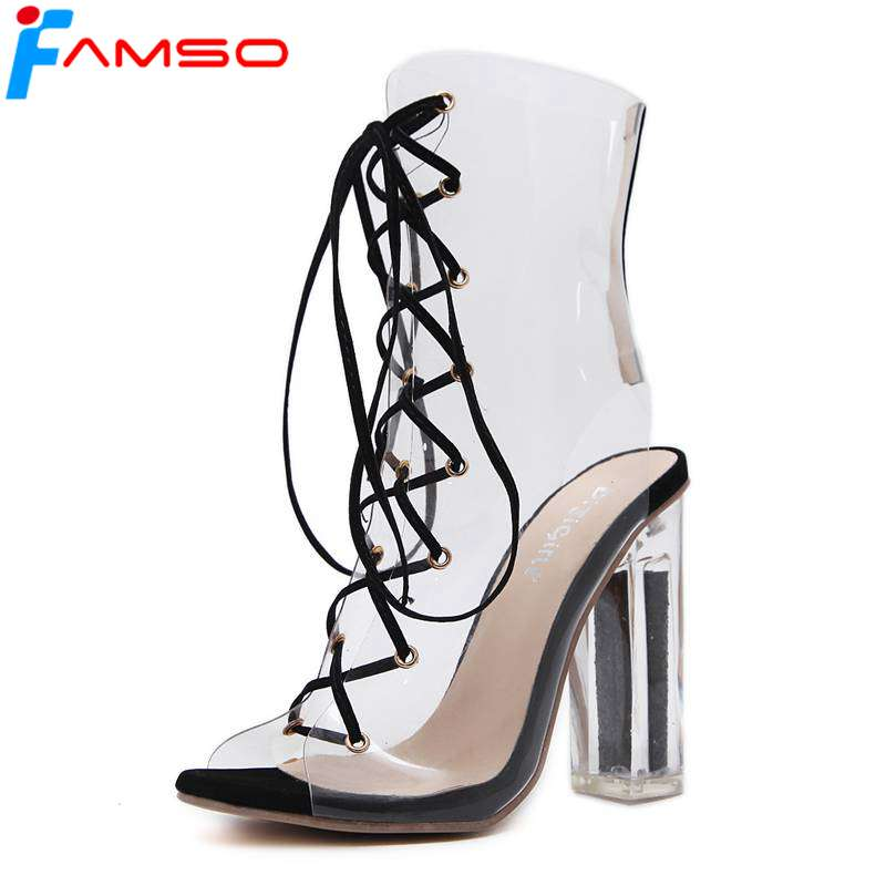 FAMSO  2017 New Shoes Women Boots  High Heels Ankle Boots Peep toe Ladies Prom Sandals Lace-up Summer Plastic transparent Boots women ankle boots 2016 round toe autumn shoes booties lace up black and white ladies short 2017 flat fashion female new chinese