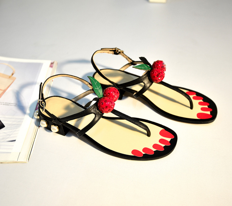 SWYIVY Women Sandals Flip Flop Cherry 2018 Peal Heel Woman Summer Casual Shoes Low Heel Roman Sandals Female Summer Footwear 40