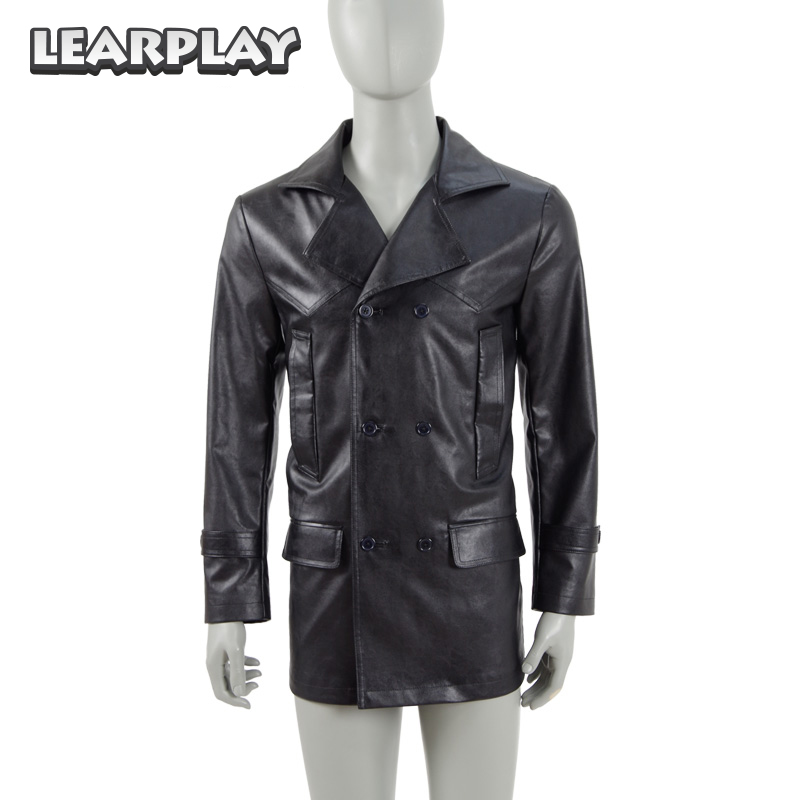 9th Doctor Who The Ninth Doctor Black Jacket Cosplay Costume Pu Leather Men Coat Christopher Eccleston Cos Outwear