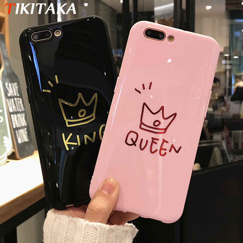 Blu-Ray Crown Lovers Phone Case For iPhone 7 7 Plus Soft TPU Black Pink KING QUEEN Fundas For iPhone 6s Plus 6 Plus 8 8 Plus X image