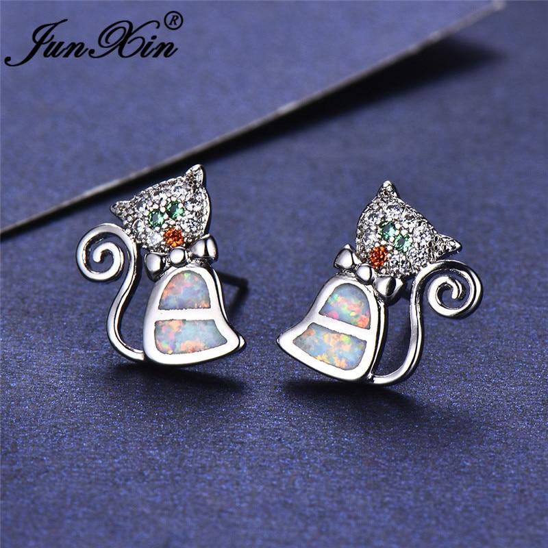 JUNXIN Cute Cat Stud Earrings For Women Silver Color Orange Green Zircon Blue White Fire Opal Earrings Wedding CZ