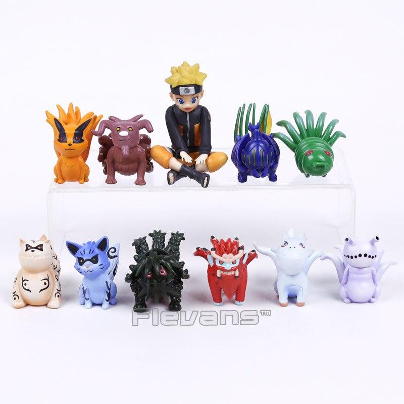 NARUTO Child Uzumaki Naruto and Bijuu Kyuubi Kurama Gaara Shukaku Utakata Mini PVC Figure Collectible Toys 10pcs/set 4~7cm Boxed ynynoo naruto sasuke kurama pvc action