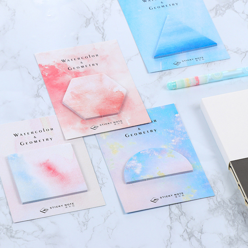 24Pcs/Lot Creative korea  Sticky Notes Geometric patterns Memo Sticky Note Stationery Items post it stickers stationery jukuai 30 pcs lot color rainbow cloud memo pad sticky notes memo notebook stationery papelaria escolar school supplies 7162