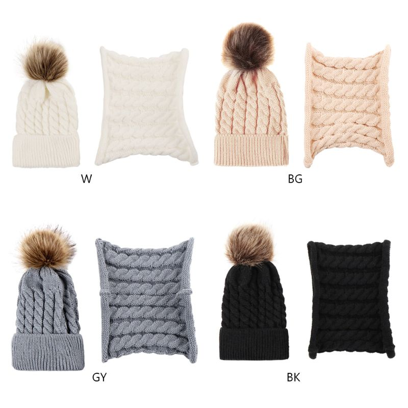 Newborn Baby Children Winter Thicken Braided Knitted Hat Scarf Set Solid Color Cute Fluffy Pompom Ball Cuffed Beanie Cap Ring