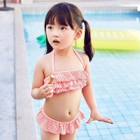 2017 New Small Children Swimming Suit Love Orange Striped Bra Cake Split Girls Swimsuit Beautiful 2