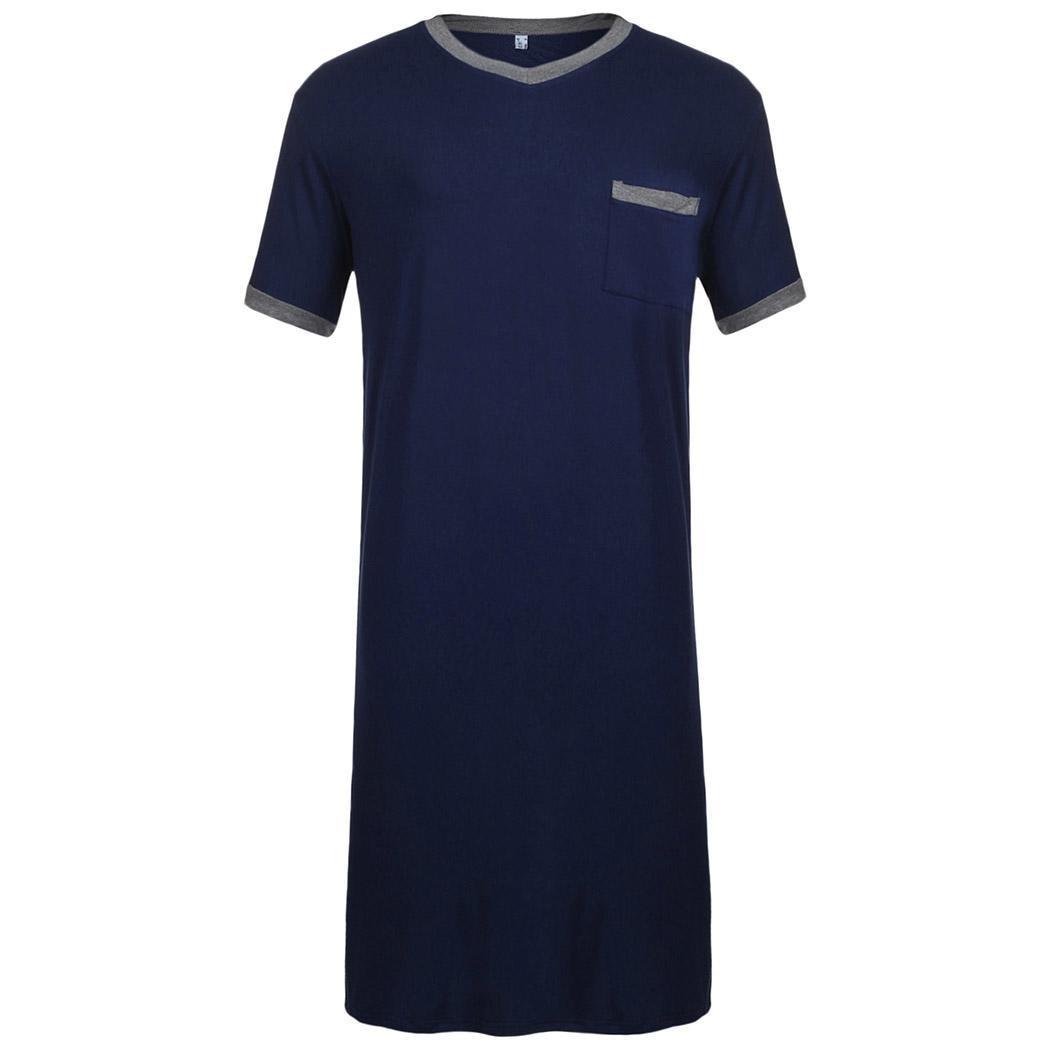 Sleepwear Loose Short Sleeve Contrast Color Men Nightshirt