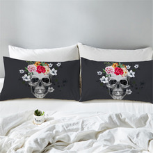 2pcs Polyester Black Skull Flowers Printed Pillow Case Bohemian Bedroom Decorative Pillows Cover Pillowcase Bedding Cover