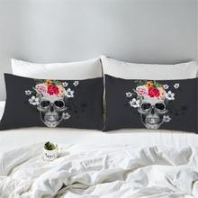 2pcs Polyester Black Skull Flowers Printed Pillow Case Bohemian Bedroom Decorative Pillows Cover Pillowcase Bedding