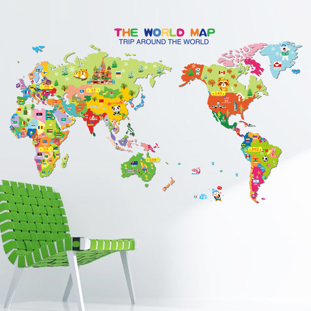Cartoon Animal World Map The Kindergarten Children Room Decorate Wall  Stickers, Europe And The United
