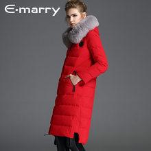 045a01e3491 Лисий мех бренд 2017 зимняя куртка женские пуховики женские утка верхняя  одежда на пуху Пальто Длинные