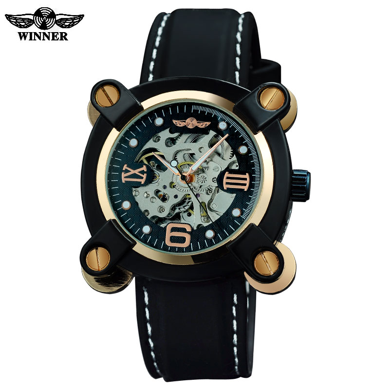 2016 Winner watches men luxury brand sports military fashion skeleton automatic wind mechanical watches rubber band wristwatches fashion winner men luxury brand roman number hand wind leather skeleton military watch automatic mechanical wristwatches gift