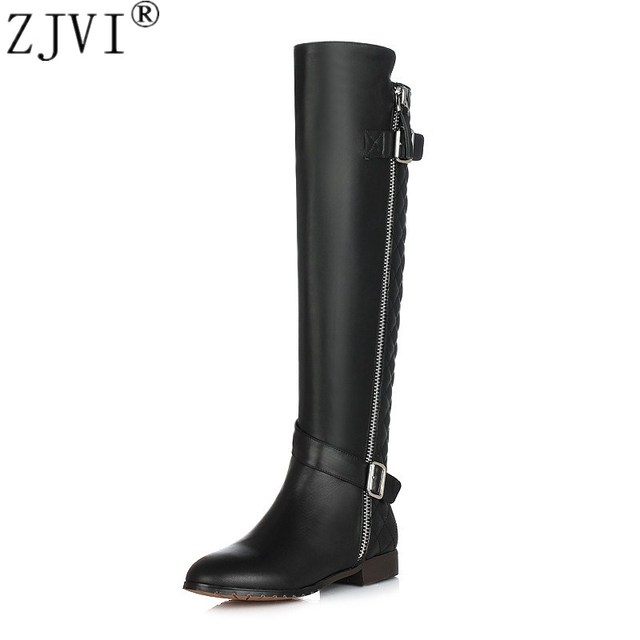 ZJVI Ladies fashion buckle winter knee high boots woman genuine leather PU 2019 women black winter shoes womens thigh high boots