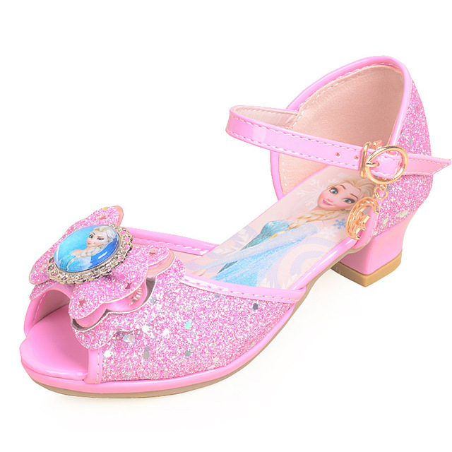 c328fe6bfc718 US $17.94 40% OFF|Children sandals princess party shoes Elsa Anna sandal  for girls glitter wedding girl sandals crystal High heel snow blue shoes-in  ...