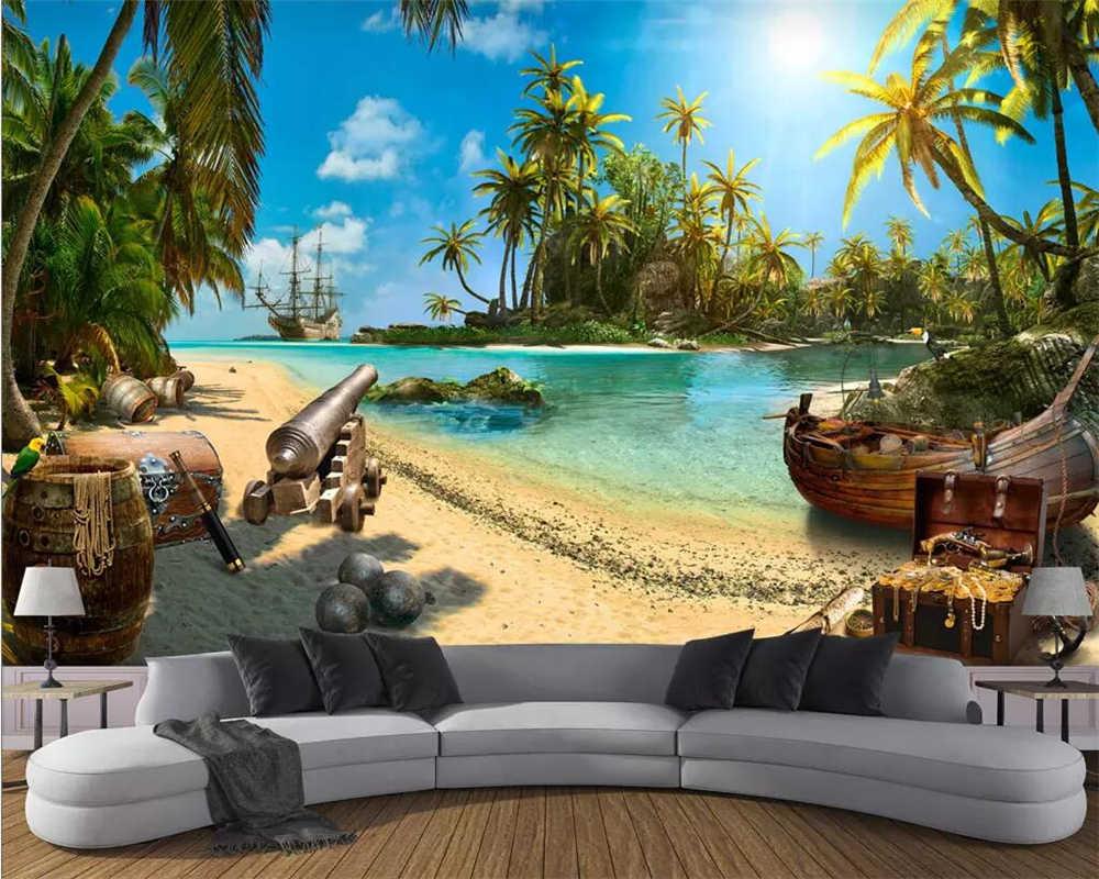 Beibehang טפט קסם אוצר פיראטים איילנד נוף 3d רקע קיר 3d סלון חדר שינה טלוויזיה רקע 3d טפט