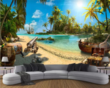 Купить с кэшбэком Beibehang Wallpaper magic pirate treasure island landscape 3d background wall 3d living room bedroom TV background 3d wallpaper
