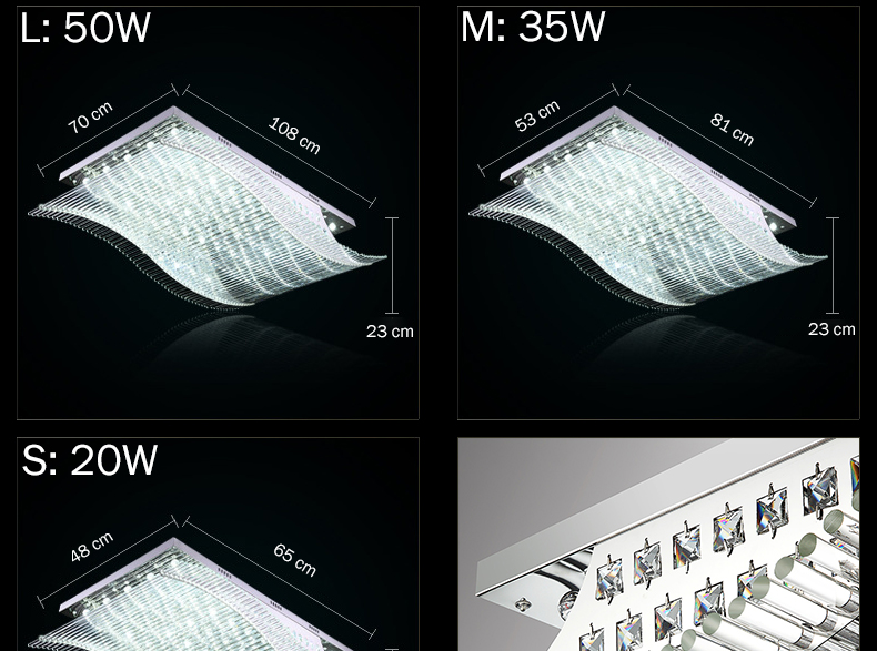 Luxury 4 Color Smooth Sailing Led Lamp K9 Crystal Modern Square Led Ceiling Lights (2)