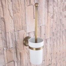 Montaje en la pared Retro Vintage latón antiguo baño cepillo titular Set accesorio de baño Taza de cerámica única mba269