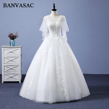 BANVASAC 2018 Half Sleeve Ball Gown Wedding Dresses Lace Sheer O Neck Appliques Real Photos Embroidery Bridal Gowns