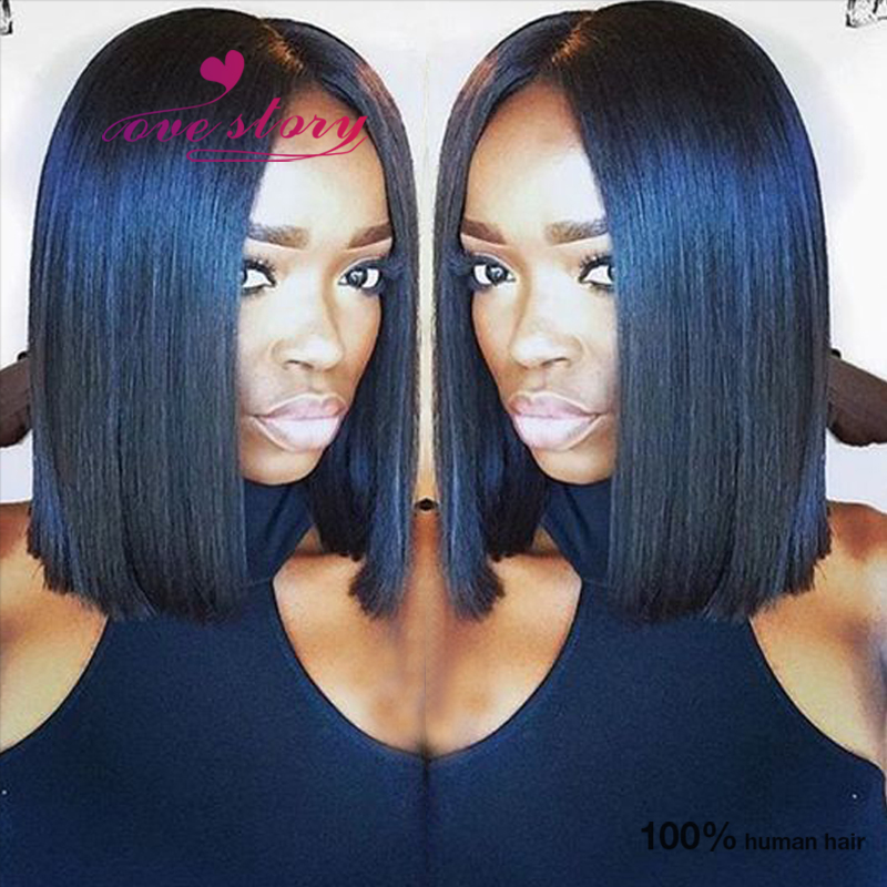 Blunt Bob Haircut Brazilian Virgin Hair Wigs For Black