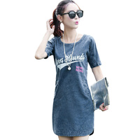 2015 New Spring Casual Sexy Denim Dress Women Fashion Summer Letter Print Denim Dresses Short Sleeve