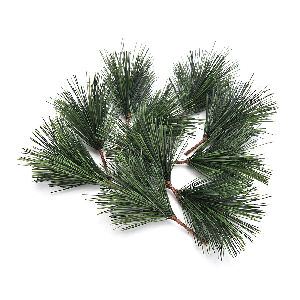 10 Pcs/lot Artificial Pine Needles Xmas Tree Decor Needle Mixed Branchs Christmas Ornament Supplies
