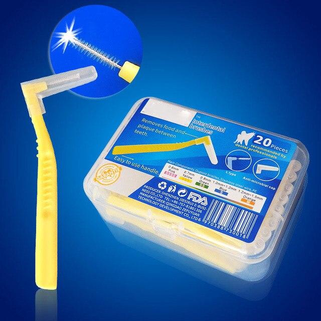 20 pièces en forme de L brosse interdentaire 0.6 MM Denta fil interdentaire nettoyeurs orthodontique brosse à dents brosse à dents soins bucco-dentaires cure-dents