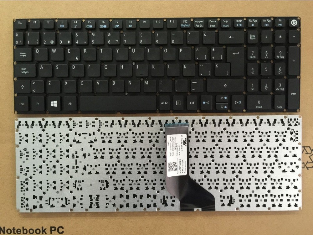 New Laptop keyboard for   Acer aspire E5-573 E5-573G E5-573T E5-573TG  SP  layout laptop keyboard for acer silver without frame bulgaria bu v 121646ck2 bg aezqs100110