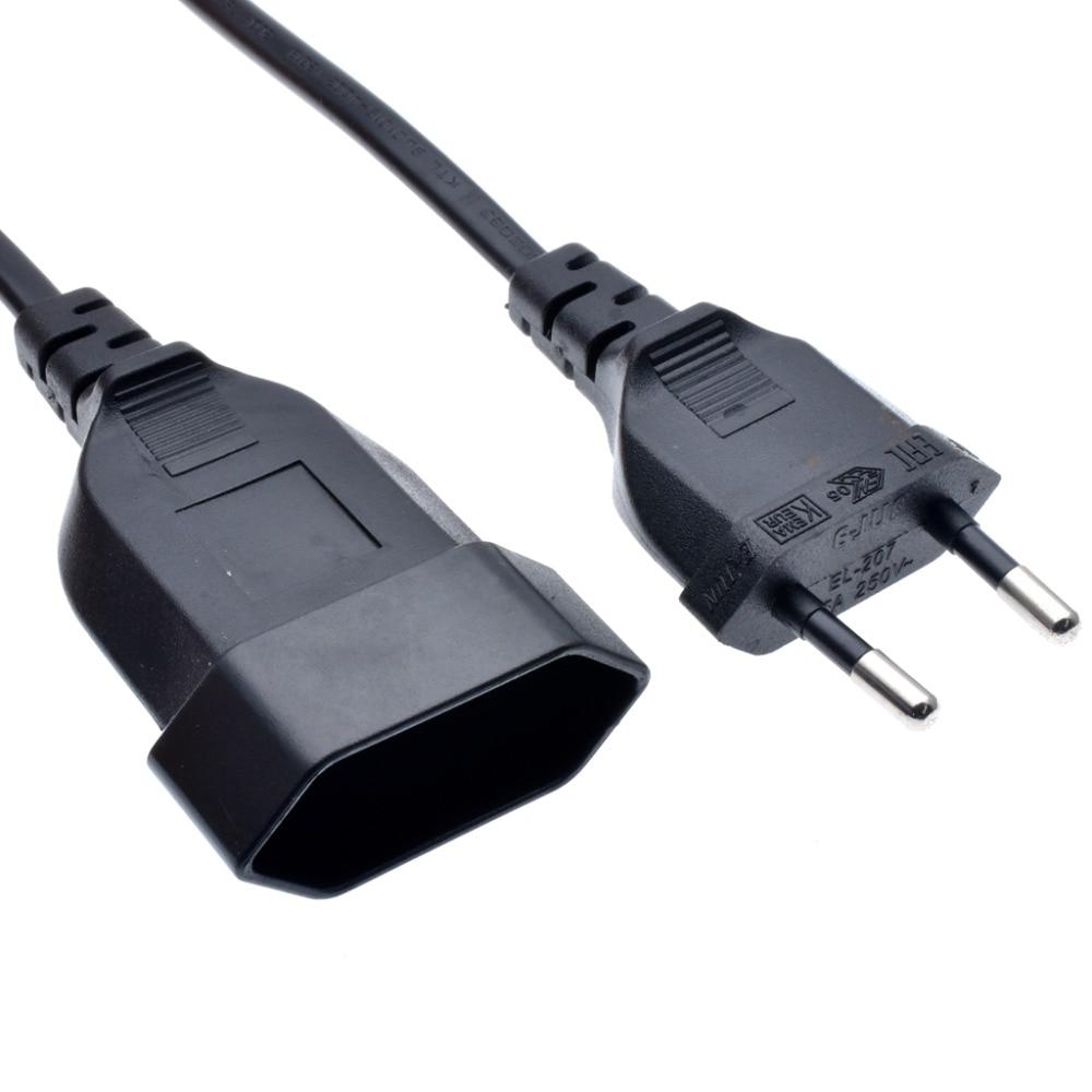 Power Extension Cord Europlug CEE7/16 Male Plug To Europlug CEE7/16 Female  2.5A/250V No Ground