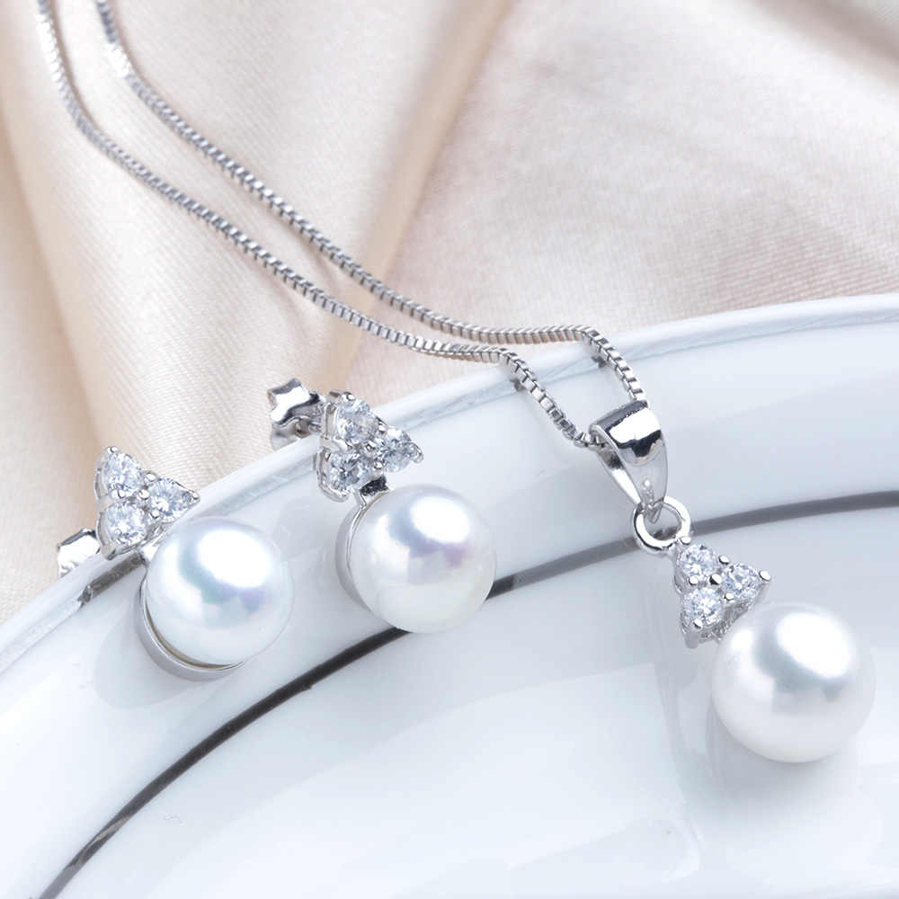 AAAA 100% Freshwater natural pearl women Jewelry sets fashion Vintage high Quality Zirconia 925 Sterling Silver Necklace set